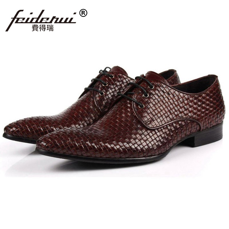 Luxury Brand Man Formal Dress Shoes Genuine Leather Handmade Male Oxfords Top Quality Italian Pointed Toe Derby Men's Flats CA26  ruimosi new arrival formal man bridal dress flats shoes genuine leather male oxfords brand round toe derby men s footwear vk94