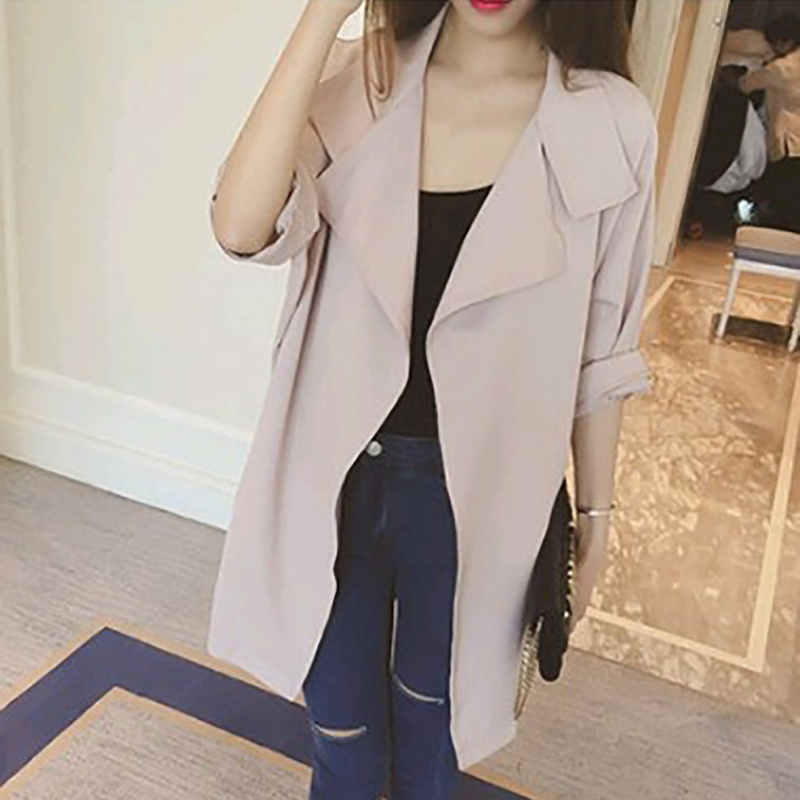 2018 New Trench Coat Women Autumn Casual Turn Down Collar Slim Cost 3 4  Sleeve Long Cardigans Outwear Plus Size 4X Women Clothes-in Trench from  Women s ... b35eece7683d