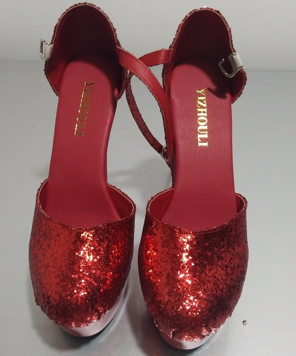 Claro De Dance Del Rojo Cm zapatos Talón Pole Atractivas Plataformas Brillante Modelo performance 15 estrella La Zapatos Boda Alto rojo Lentejuelas qHHFaB