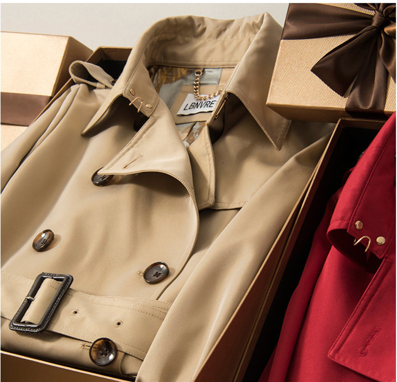 Women Spring Autumn Trench Korean Medium Length2018New Fashion High Quality Designer Slim Double Breasted British All Match Coat