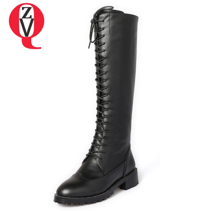 ZVQ high quality cow leather side zipper square heel winter big size round toe long boots woman black lace-up motorcycle boots high quality full grain leather and pu mixed colors boots size 40 41 42 43 44 zipper design lace up decoration round toe boots