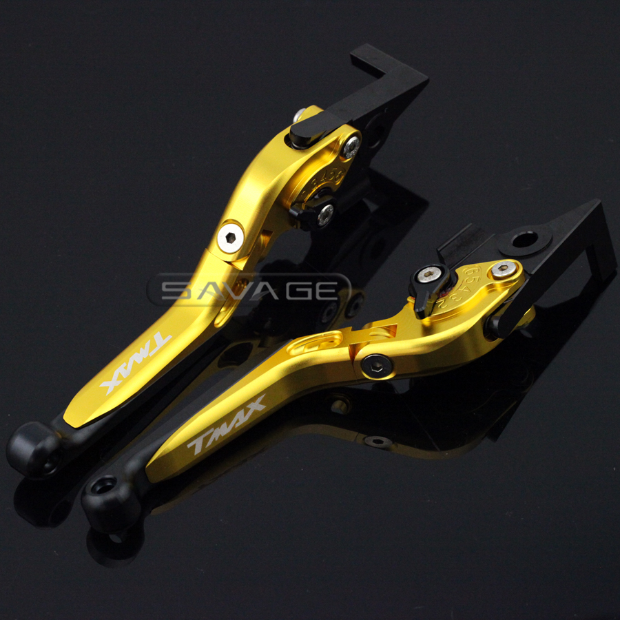 For YAMAHA XP500 T-MAX XP530 T-MAX 2010-2016 Gold Motorcycle Adjustable Folding Extendable Brake Clutch Lever logo TMAX cmos штатная камера заднего вида avis avs312cpr 152 для honda accord viii