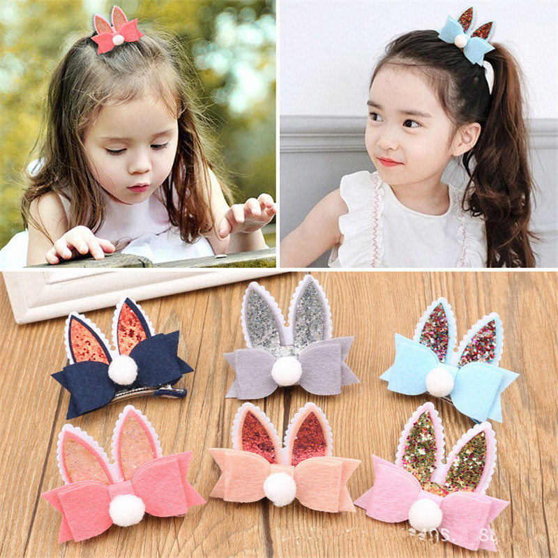 New Kids Hair Accessories Glitter Rabbit Ear Baby Hair Clips Pink Grey Felt Bow Barrette Cute Girls Children Headdress   Headwear