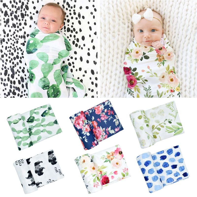 Baby Girl Boy Clothes Bedding Accessories Sleeping Bag Muslin Swaddle Blanket Floral Print Newborn Props