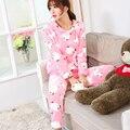 2017 Nuevo invierno engrosamiento pantalones homewear de manga larga pijamas de dibujos animados de color rosa cálido algodón bolsillos ocasionales loungewear ropa de dormir