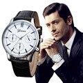 Reloj de Los Hombres Relojes 2016 Hombres Famosos de la Marca Reloj de Cuarzo Reloj de Diseño Retro de Aleación de Cuarzo Analógico Banda de Cuero reloj Montre
