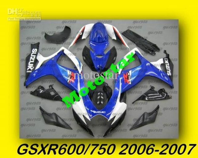 Classic Blue sliver GSXR600 Fairings GSXR600/750 2006 2007 06 07 High Quality Free windscreen