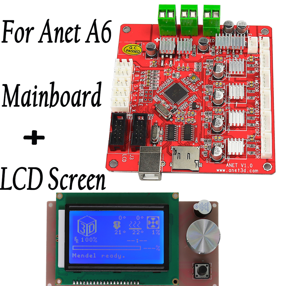 Anet A6 3d printers Mainboard V1.0 with LCD 12864 smart controller RAMPS 1.4 blue screen Reprap Mendel Prusa 3D printer parts недорго, оригинальная цена