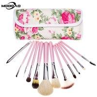 MODOAO אופנה ערכות מברשת איפור מקצועי עיזים שיער 12 יחידות מברשת פנים קוסמטיות כלי איפור יופי עם פרחי ורדים תיק