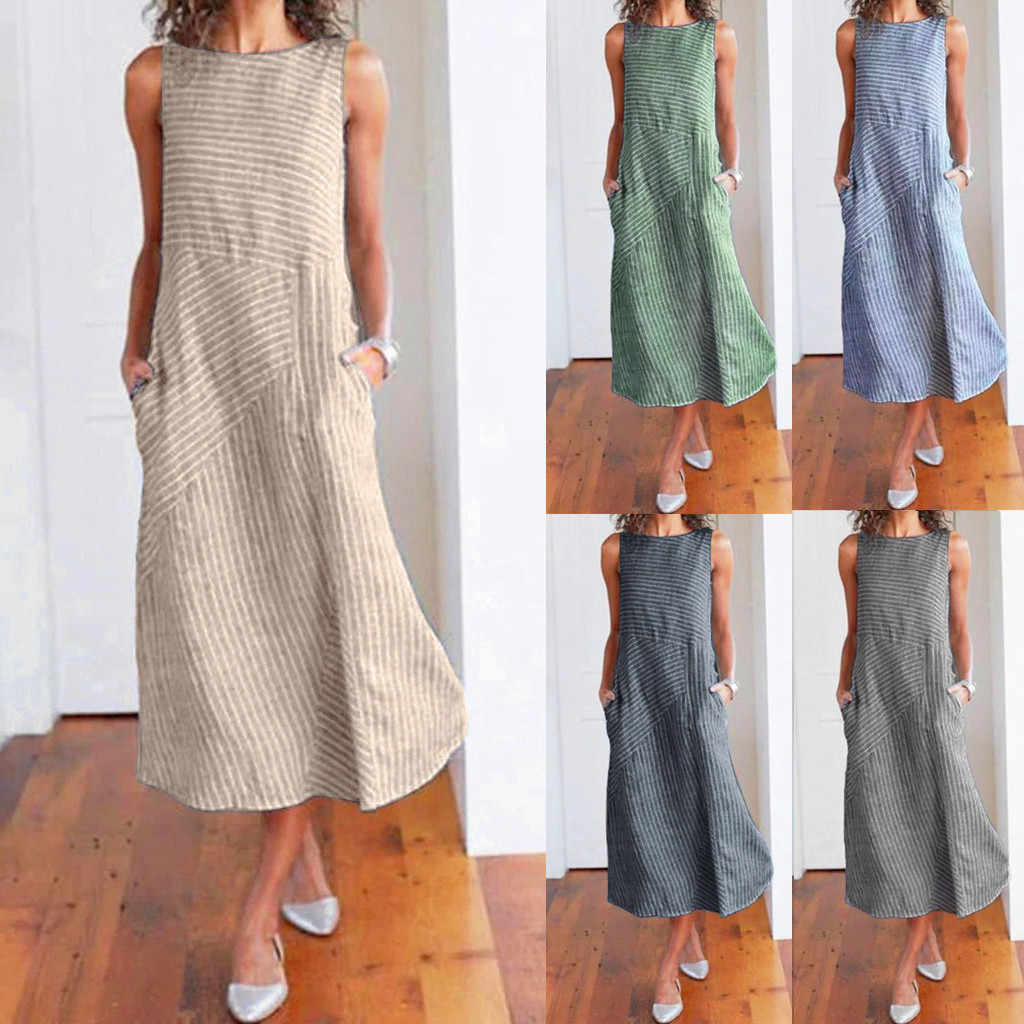 Women Dress 2019 Summer Fashion Dress Women Casual Striped Sleeveless Dress Crew Neck Linen Pocket Long Dress @20