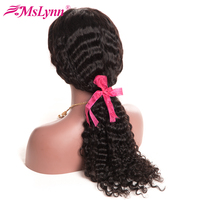 Mslynn Brazilian Deep Wave Full Lace Wig For Black Woman Non Remy 10 24 Natural Black