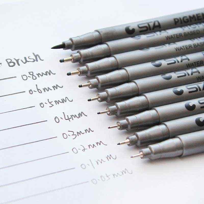 STA noir micron stylo crochet Liner croquis marqueurs dessin étanche à la décoloration Art fournitures Manga bande dessinée écriture manuscrite pinceau stylo