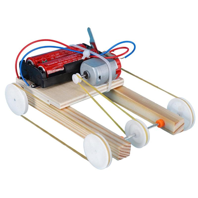 Wooden DIY Electric Pulley Four Wheel Drive Car Assembly Model Kit Science Experiment Educational Toys Children Gift