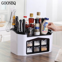 GOONBQ 1 pc Multifunction Kitchen Knife /Fork/ Spice Rack Plastic Knife Shelf Seasoning Jar Storage Organizer Kitchen Holder
