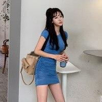 Plus Size Streetwear Blue Dress Summer 2019 Women Short Sleeve High Elastic Mini Dresses Ladies Solid Sheath Wrap Dress Women