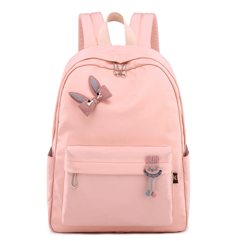 Preppy Style Waterproof Women Lovely Pure Color Backpack Printing Large Capacity Black Laptop Backpack Pink Trip Bookbag