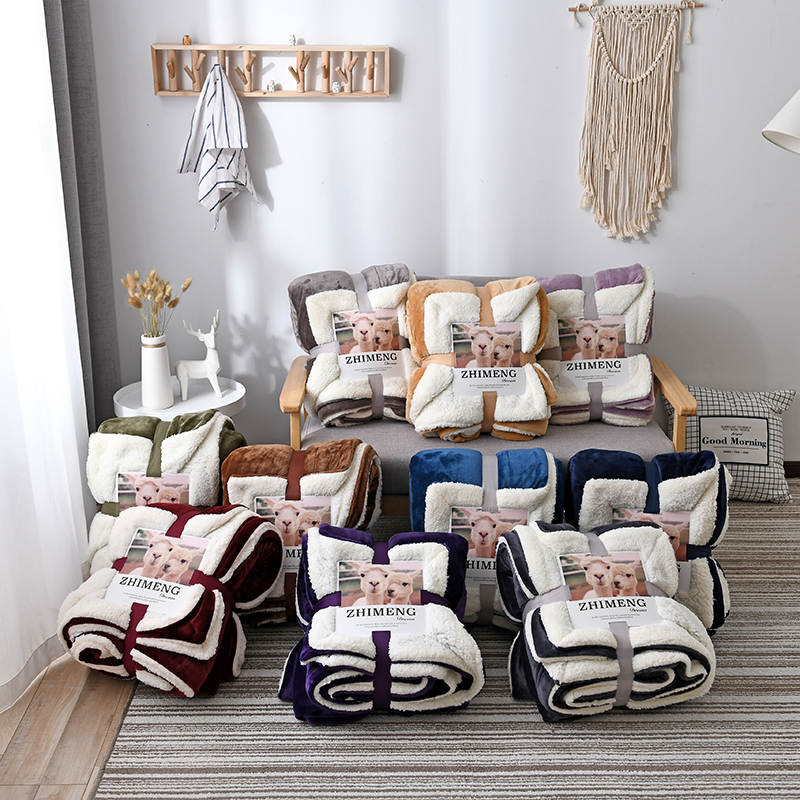 Deluxe Large Lamb Blanket solid color winter blanket single double thickened sofa bed blanket can flip