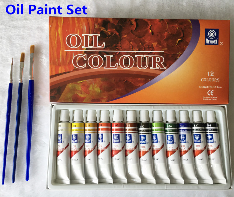 Professional Brand Oil Paint Canvas Pigment Art Paints Each Tube Drawing 12 ML 24 Colors Set Free For Brush цена