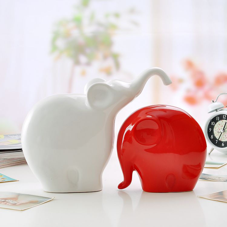 White And Red Ceramic Elephant Lovers Home Decor Crafts