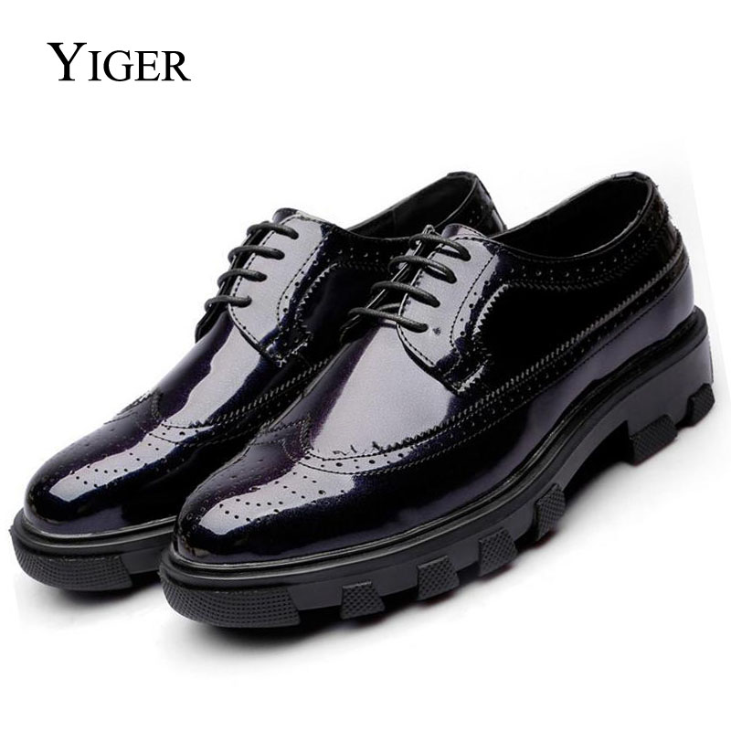 986f746fc99f2c YIGER NEW Men Casual Leather Lace-up shoes Formal Business Male Wedding  Dress Flats shoes Autumn Spring Breathable 0023