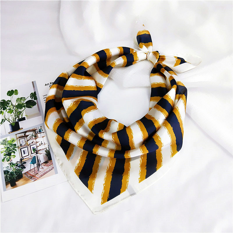 70 Three Stripes Small Square Scarf Small Scarf Female Spring and Summer Summer Wild Korean Version of the Headscarf Scarf Work