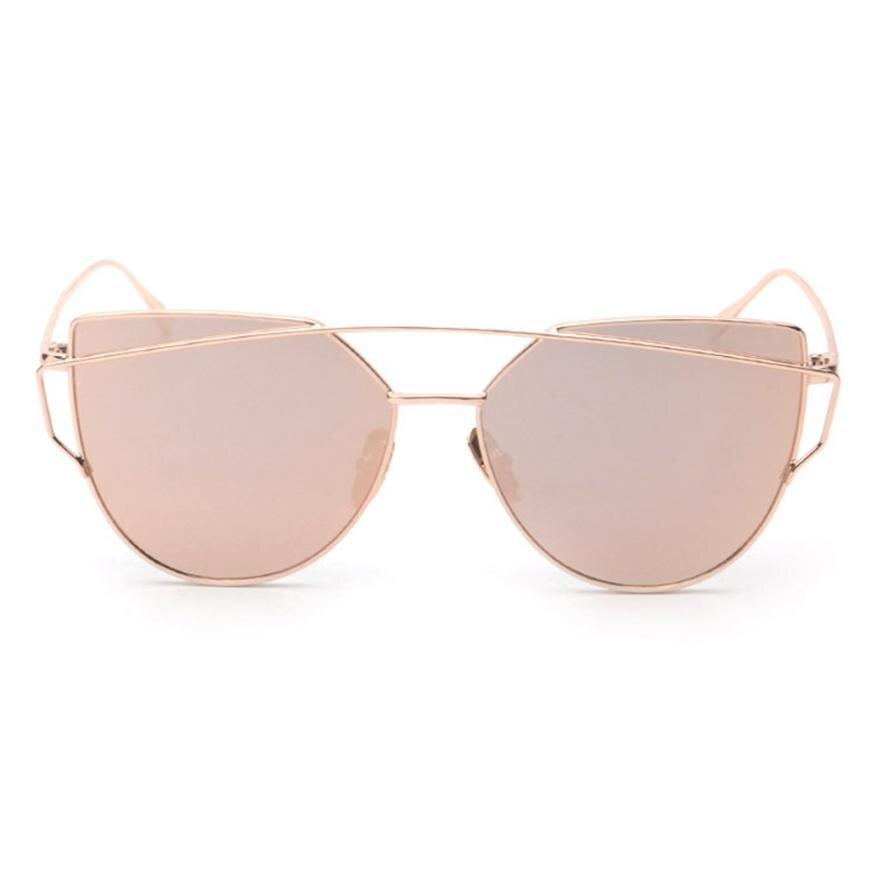 #5 Fashion Twin-Beams Classic Women Metal Frame Mirror Sunglasses Cat Eye Glasses