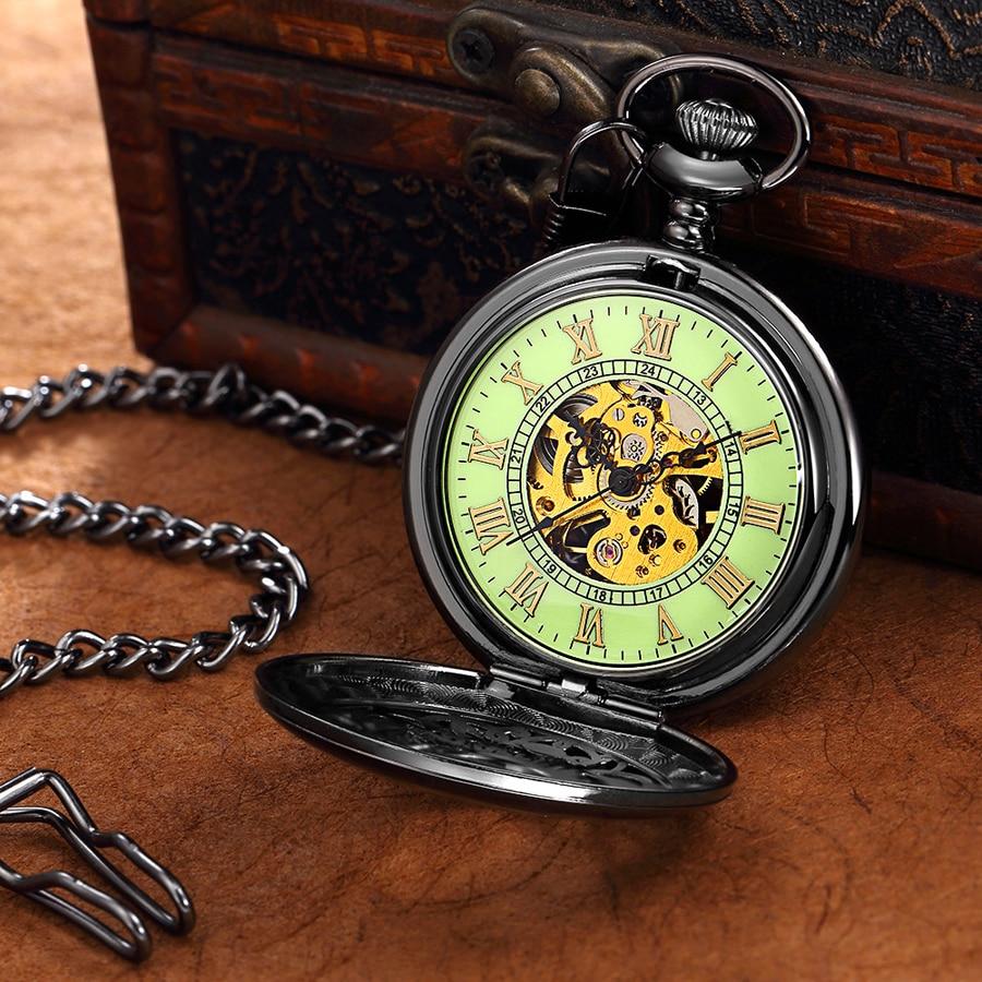 Vintage Metal Pocket Watch Men Women Necklace Pendant Fob Watch Antique Style Classic Mechanical Pocket Watches Luminous