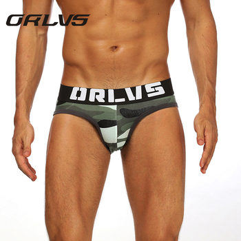 ORLVS Brand Mens Panties Camouflage Pattern Jockstrap Ropa Interior Hombre Gay Underwear Calzoncillos Briefs - discount item  30% OFF Men's Underwears
