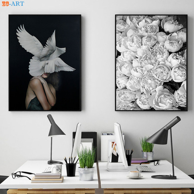 77ea9eb83 Girl and Wings Prints Peony Flowers Poster Black and White Wall Art Fashion  Canvas Painting Bedroom Home Decor