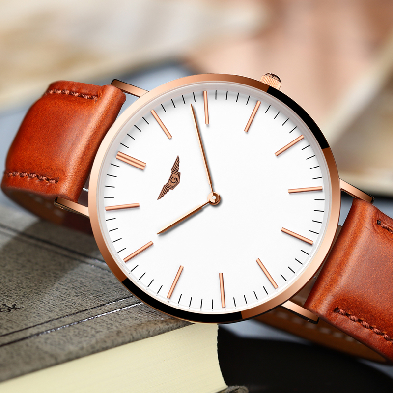 GUANQIN Mens Watches Luxury Simple Men Ultra Thin Quartz Watch Top Brand Casual Male Leather Strap Wristwatch relogio masculino сандалии для мальчика kapika цвет синий 10147 1 размер 19