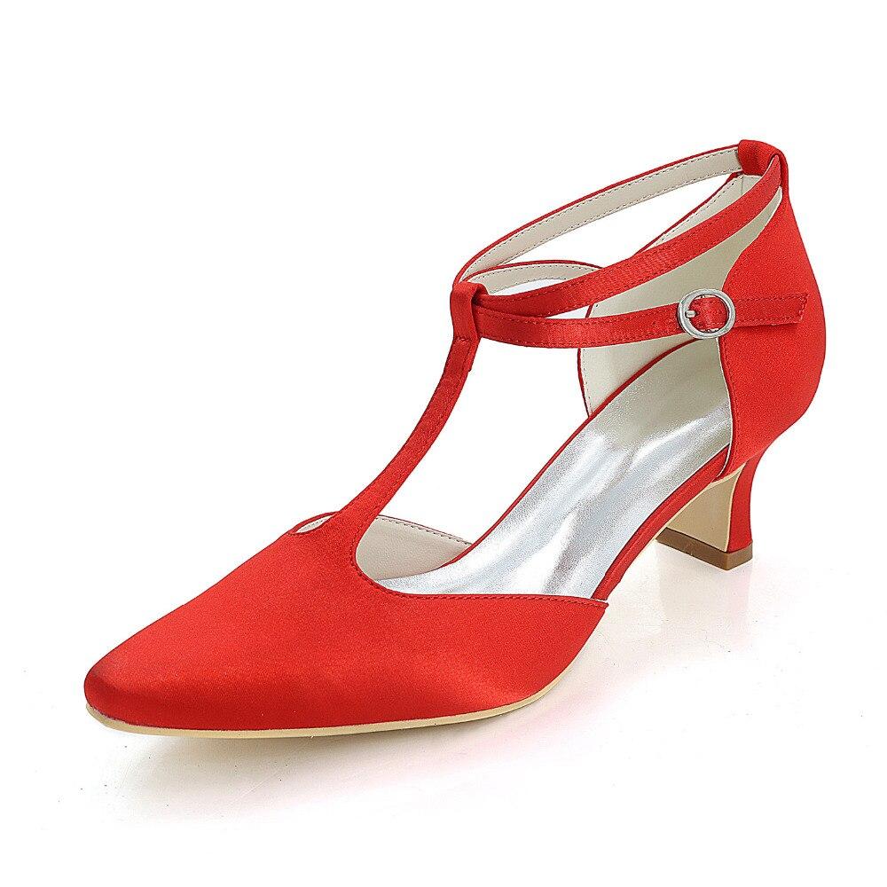 Creativesugar T-strap satin evening dress shoes pointed toe 5.5cm hoof med heel ankle instep strap dance party wedding heels creativesugar elegant t strap lace