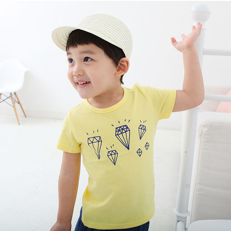 Newest Baby Boy Girl Pullover Tops Shirt Toddler Short Sleeve Tee Child Diamond T-Shirt