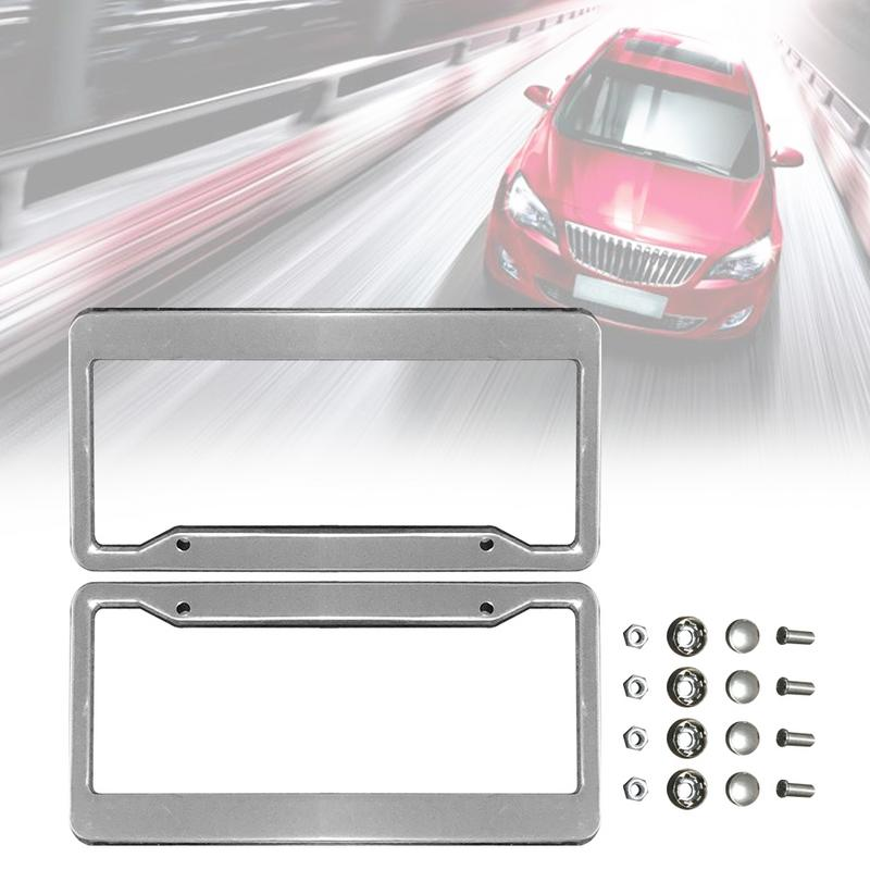 Top 4 Hole Metal Car License Plate Frame with Free caps Domed Custom-Made Personalized Narrow Chrome Thin Vietnam Veteran