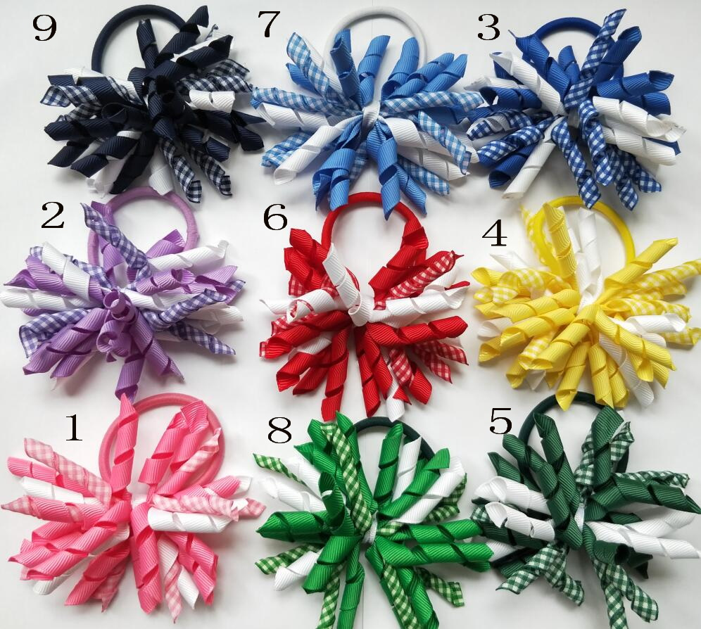 Girl 3 5 gingham korker curl whirl ribbon bows flowers clips corker headwear hair accessories Hairbands