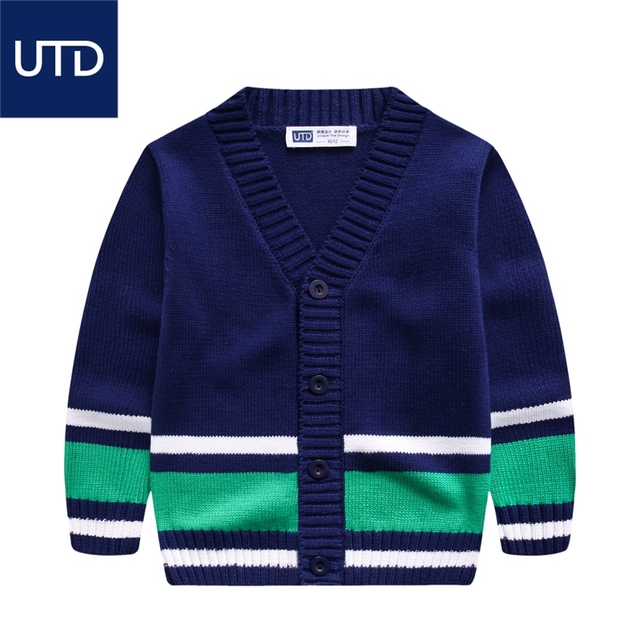 wear sweaters sweaters in Korean all-match Tong V word stripe spring 2017 children cotton cardigan