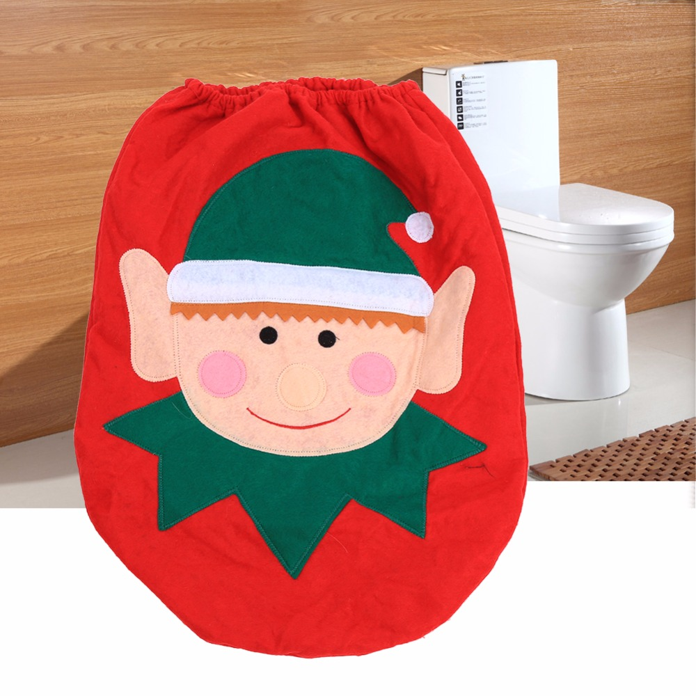 W Christmas Decorations Lovely Elf Snowmen Xmas Ornaments Decoration Bathroom Toilet Tank Seat Cover In Covers From Home Garden On