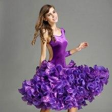 red Velvet latin dance dress fringe women latin dress dance costumes Dancewear dress latina salsa women dancing dress