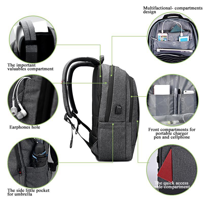 Tigernu 大容量 USB 充電バックパックバッグセット  グループ上の スーツケース & バッグ からの バックパック の中 2