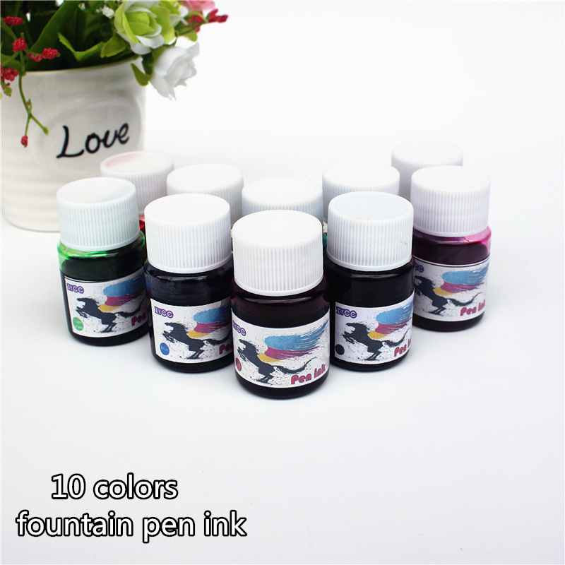 Fountain Pen ink bottled 15ML 10 colors portable pen ink quality is not hurt pen schneider 6pcs supplementary ink pen ink sac ink ink gall bladder boxed portable recycle