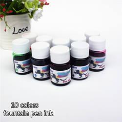Авторучка чернила бутылках 15 мл 10 видов цветов портативный чернилами качество не больно ручка