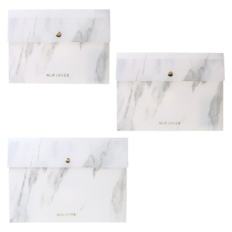 A4/A5/B5 Portable Marble Pattern PP File Folder Document Examination Paper Bag For Office School Students Supplies