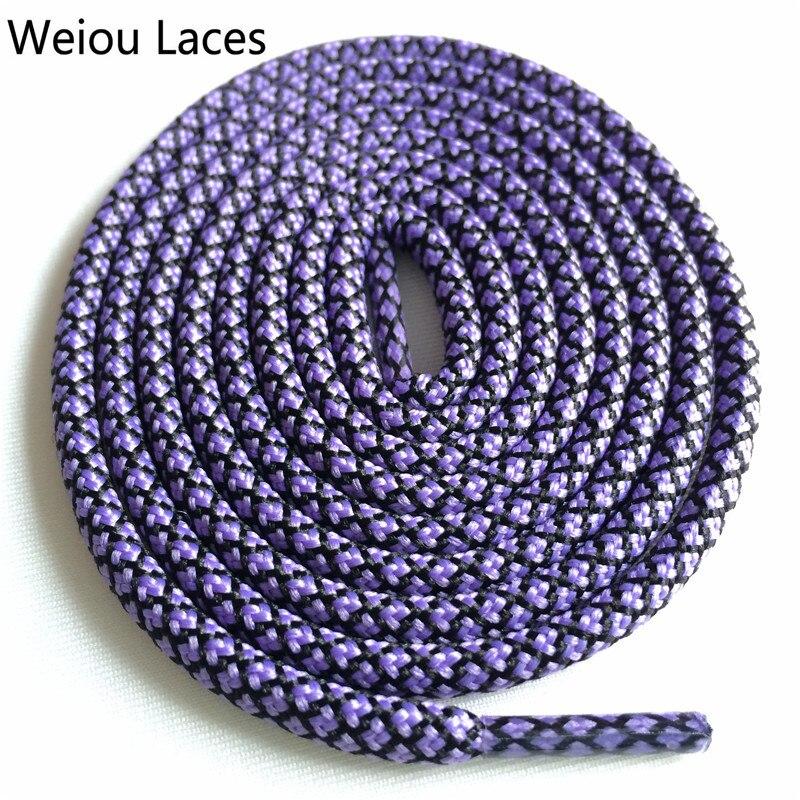 Weiou новые яркие цвета для пеших прогулок, двухцветные шнурки, сменные шнурки для обуви, круглые шнурки для баскетбола 750 - Цвет: 17Purple Black