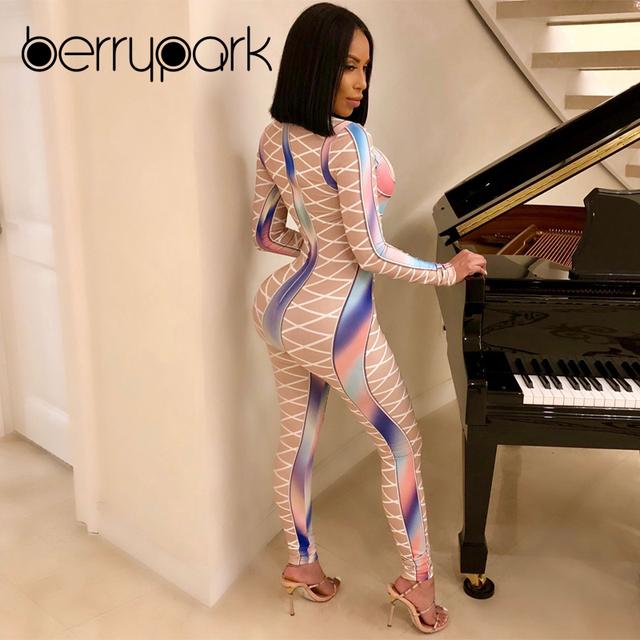 BerryPark Colourful Gradient Mesh Sport Jumpsuit 2019 Women Criss Cross Printed Yoga Set Running Fitness Suit Gym Workout Wear