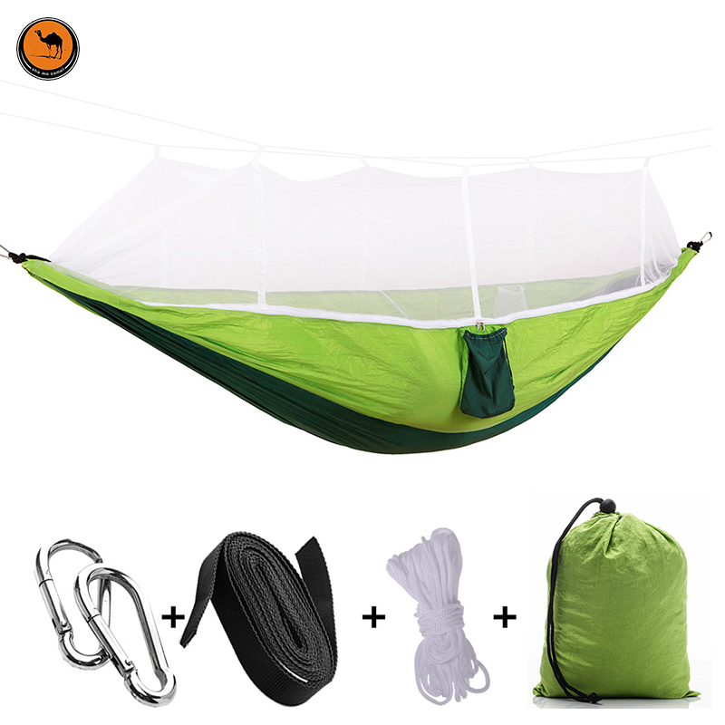 Hot Handy Portable Hammock Double/Single Folded Person White Net Mosquito Hook Hanging Bed For Camping Travel Kits Outdoor 2 people portable parachute hammock outdoor survival camping hammocks garden leisure travel double hanging swing 2 6m 1 4m 3m 2m