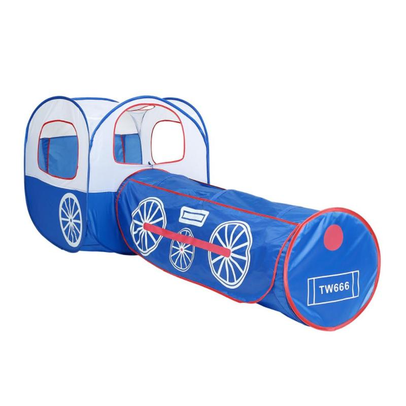 Enfants jouent tente bleu Train ramper Tunnel tentes océan balles piscine fosse Portable grand Tube de piscine tipi enfants jouent maison tente ramper