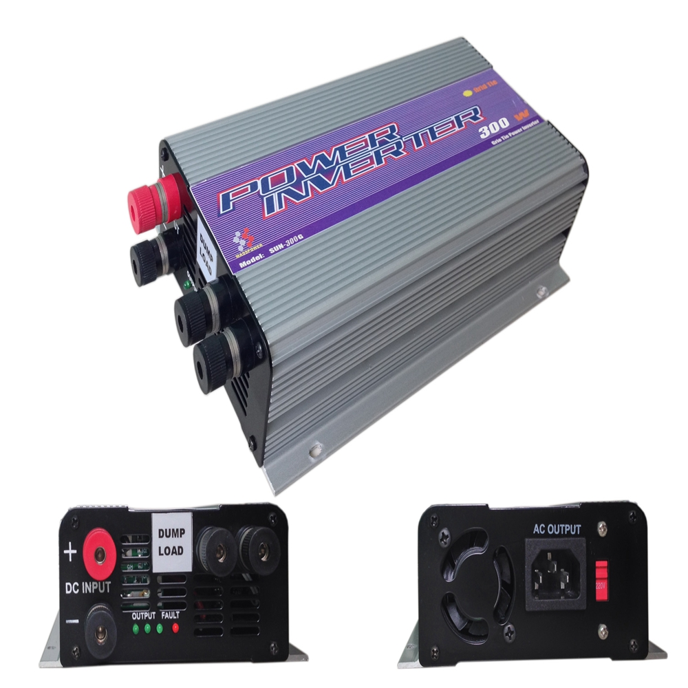 300W Pure Sine Wave Grid Tie Inverter for Wind Turbine DC To AC MPPT Function 10.8V-30V / 22V-60V Input 110V/220V Output 600w grid tie inverter lcd 110v pure sine wave dc to ac solar power inverter mppt 10 8v to 30v or 22v to 60v input high quality