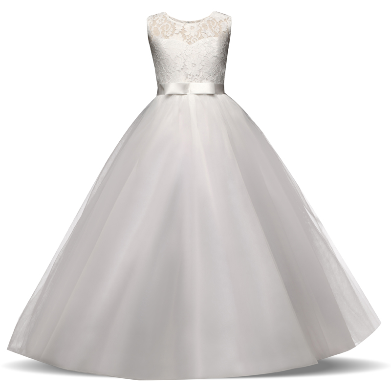 Lace Flower Girl Dresses For Wedding Party Tulle First Communion Dress Teenage Girl Children Graduation Gown Kids Clothes 12 14 2
