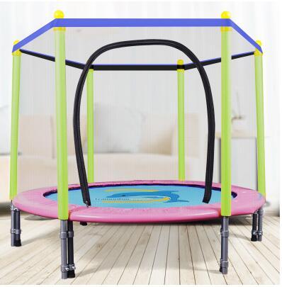 55 дюймов круглый детский мини-батут корпуса подкладка-сетка Rebounder прогулок на свежем воздухе - Цвет: pink