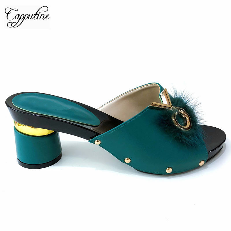 Capputine New Arrival Italian woman PU Leather Slipper Shoes 2019 Fashion Elegant Pumps Shoes For Party 6Colors On Sale