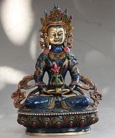 bronze Decoration Pure Brass Good value Lucky Tibet Buddhism Cloisonne Enamel Bronze Amitayus longevity God Goddess Statue